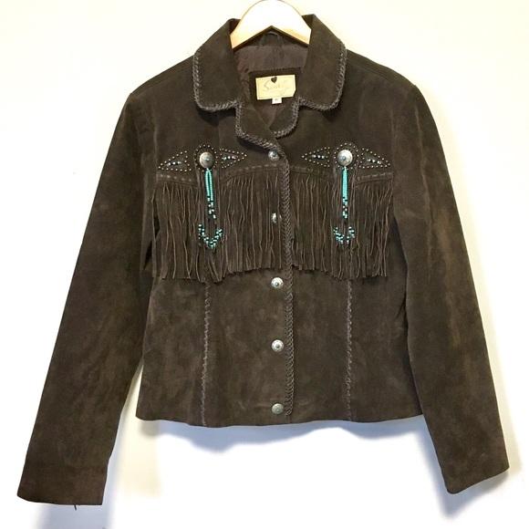 Amazing Suede Fringe Leather Jacket Boho Festival Penny Lane Style